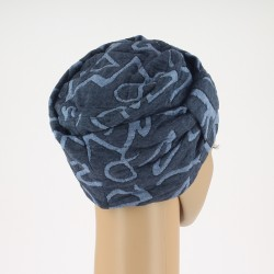Edith Knitted Chemo Cap - navy blue patterned