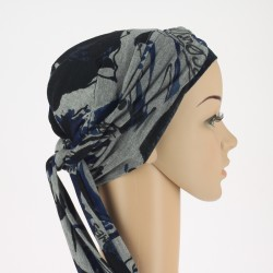Simona Pre-Formed Head Scarf - Grey and blue
