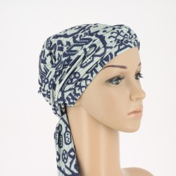 Estelle Bamboo Chemo Head Scarf with Long Ties Maya Blue grey