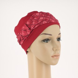 Edith Knitted Chemo Cap - red calico