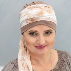 Ibiza chemo cap with head scarf - Grey