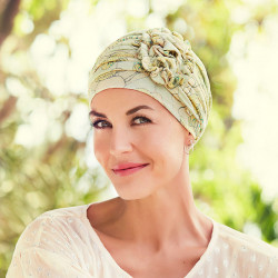 Turbante chemio in linen Lotus - Tropical