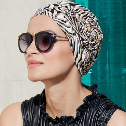 Chemo cap Manou Bamboo Gisela Mayer - Black and White Print