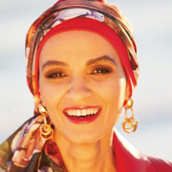 Ibiza chemo cap with head scarf - Red
