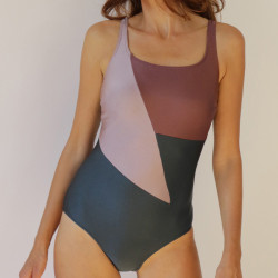 Mastectomy Swimsuit Zoe - Blue and silver