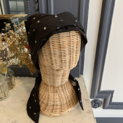 Teresa Pre-Formed Head Scarf - Black and silver