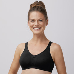 Cotton post-operative bra Tanya Black Amoena