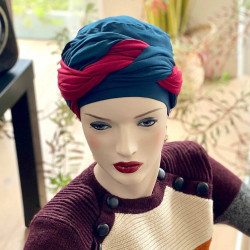 Chemo Head Scarf Leslie green and bordeaux