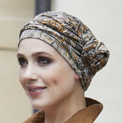 Chemo cap Manou Bamboo Gisela Mayer - Black and Taupe Print