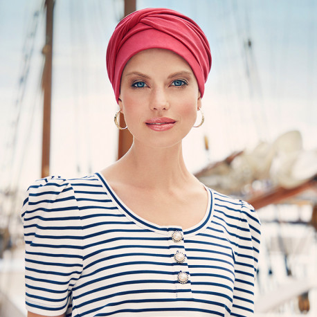 Mila Cotton Pre-Formed Head Scarf Red Intense