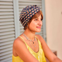 Chemo Cap Cross Paon blue and yellow - Les Franjynes