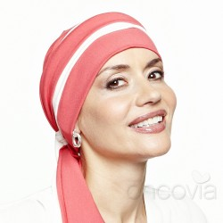 Julia Chemo Head Scarf - Coral & White