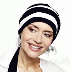 Julia Long-Tie Head Scarf - Black & White