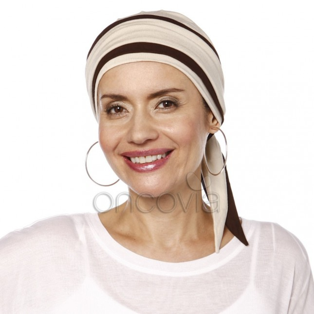 Julia Chemo Head Scarf - Beige and brown
