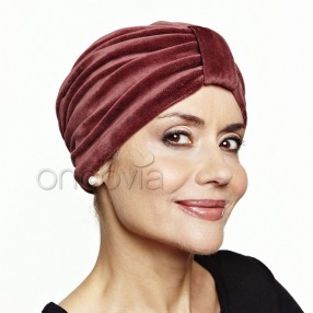 Turban en velours - Marron cuivré