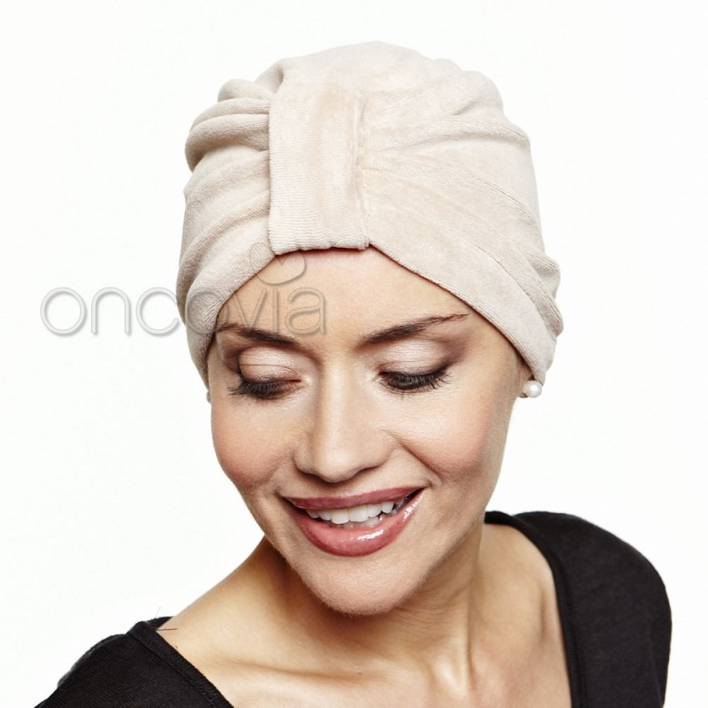 foulard cr ation turban chimio coton en velours beige oncovia. Black Bedroom Furniture Sets. Home Design Ideas