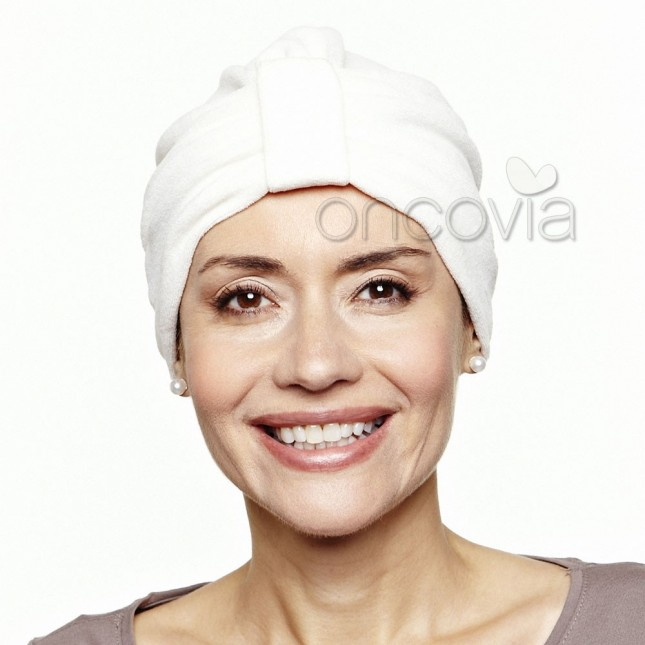 Turban en velours - Ecru