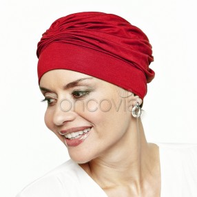 Dalya Pleated Chemo Cap - Red